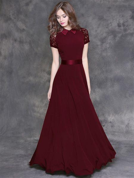 Женские модные платья в пол бордового цвета