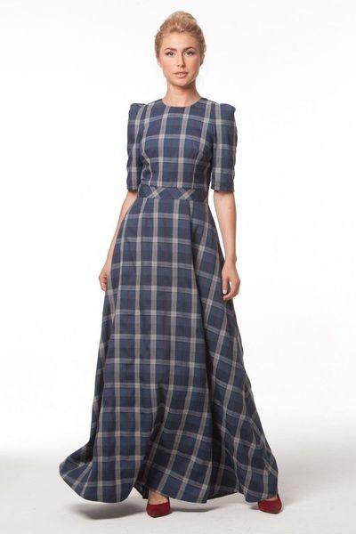 Модные женские платья в пол в клетку