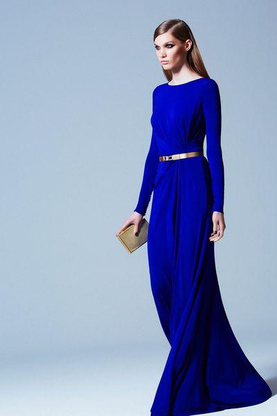 Женские модные платья в пол синего цвета